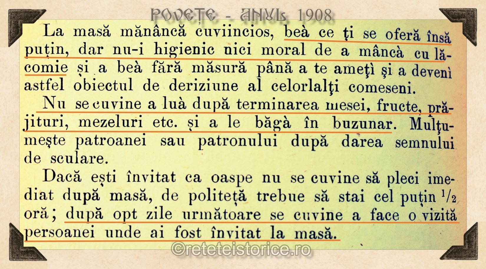 POVETE  din anul 1908
