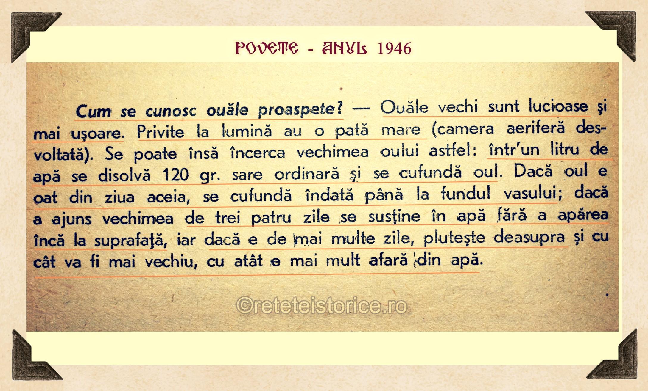 POVETE – ANUL 1946