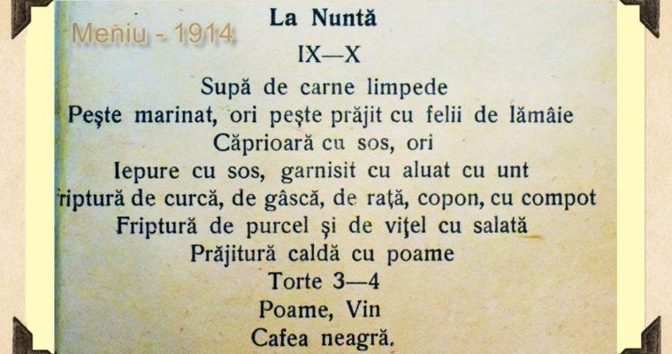 MENIU NUNTA – ANUL 1914