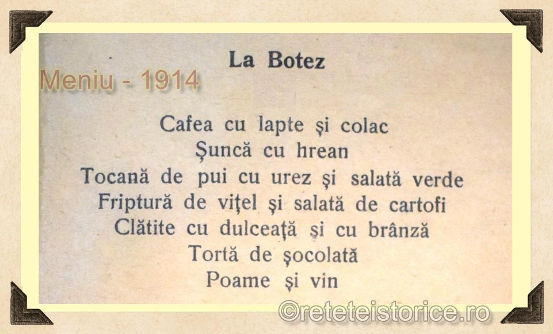 MENIU BOTEZ – ANUL 1914
