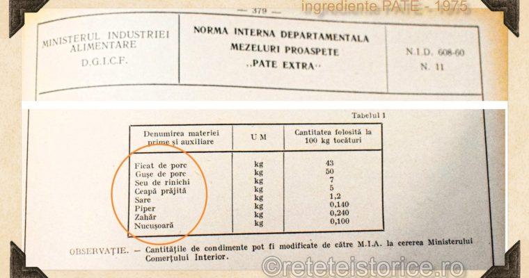 INGREDIENTE PATE EXTRA- ANUL 1975